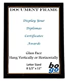8.5 x 11 Inch Document Frame Black with Gold Trim - Diploma, Award and Certificate Frames by bogo Brands (24)