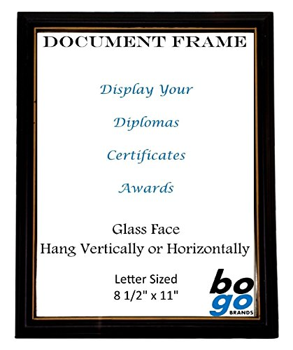 8.5 x 11 Inch Document Frame Black with Gold Trim - Diploma, Award and Certificate Frames by bogo Brands (24) by bogo Brands