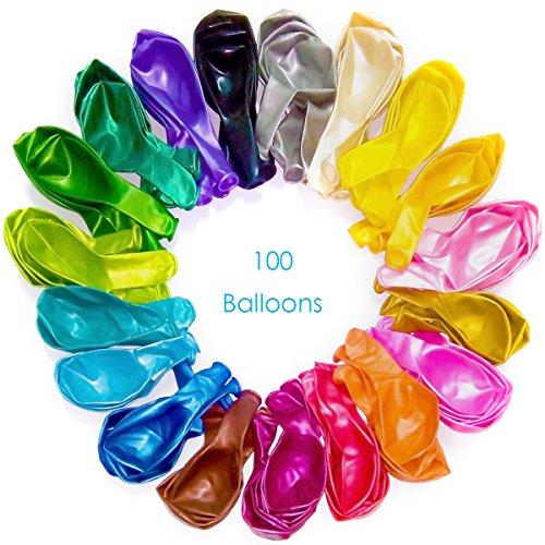 Pearl metallic balloons | 100 pcs | Helium and air | 12
