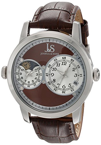Dual Time Date Watch - Joshua & Sons Men's JS87BR Silver Dual Time Zone Quartz Watch With Brown Dial and Brown Embossed Leather Strap