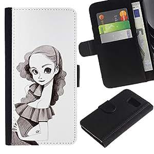 A-type (Retrato de la niña del dibujo de lápiz de Big Eyes Flaco) Colorida Impresión Funda Cuero Monedero Caja Bolsa Cubierta Caja Piel Card Slots Para Samsung Galaxy S6