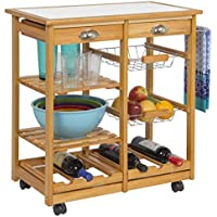 Best Choice Products Wood Kitchen Storage Cart Dining Trolley w/Drawers Stand CounterTop Table