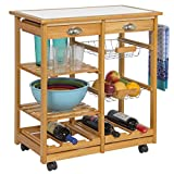 Best Choice Products Wood Kitchen Storage Cart Dining Trolley w/ Drawers Stand CounterTop Table