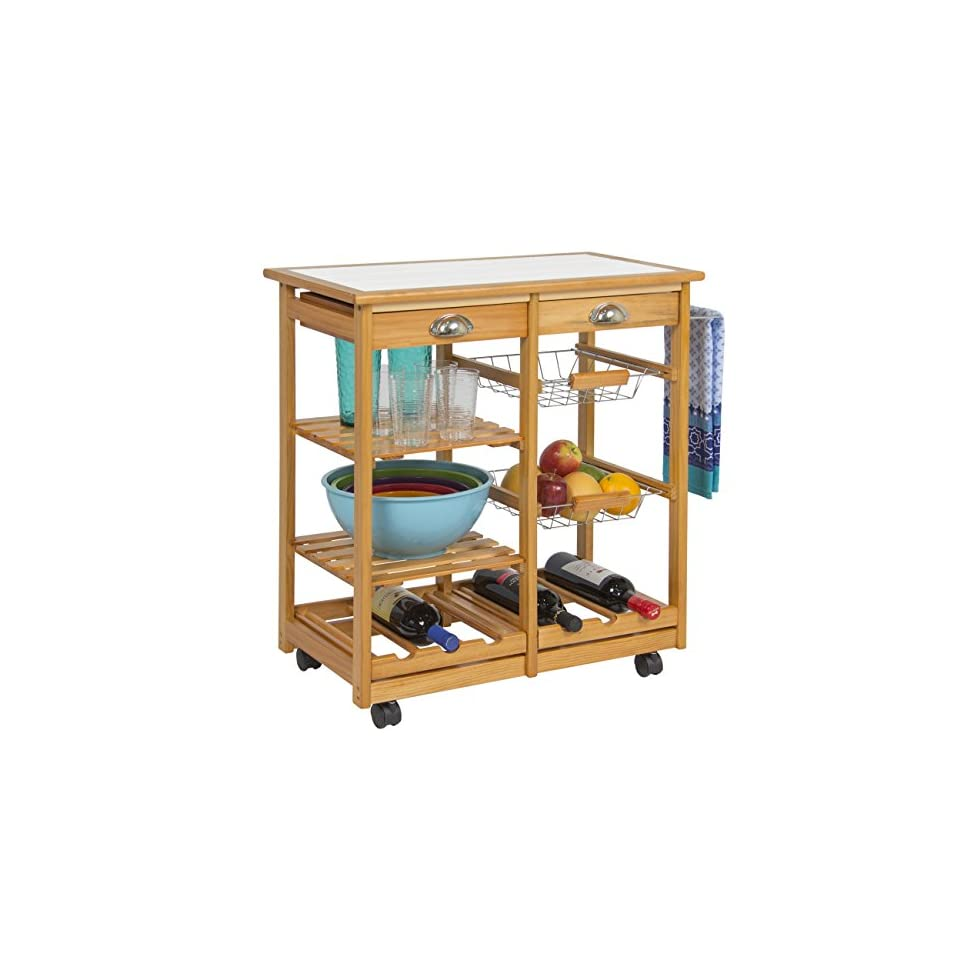 Best Choice Products Wood Kitchen Storage Cart Dining Trolley ...