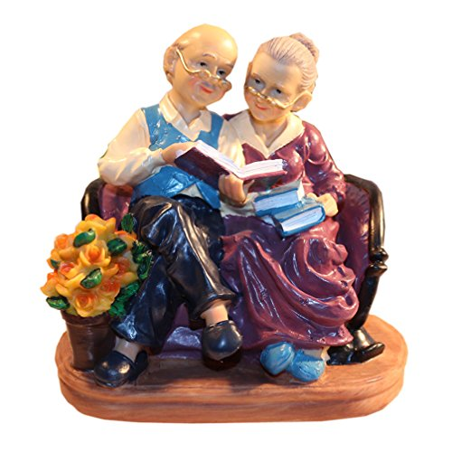 Coostyle Learning Elderly Couple Figurines, Loving Old Age Life Resin Home Decorations with Gift Card for Mother's day Father's day Anniversary (Learning)