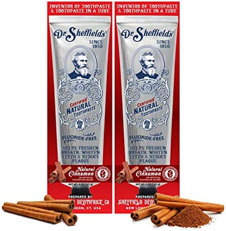 Dr. Sheffield's Certified Natural Toothpaste (Cinnamon) – Great Tasting, Fluoride Free Toothpaste/Freshen Your Breath, Whiten Your Teeth, Reduce Plaque (2-Pack)