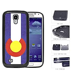 Colorado State Flag Grunge 2-Piece High Impact Dual Layer Black Silicone Cell Phone Case iPhone 4 4s