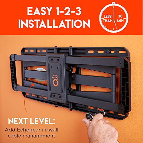 """ECHOGEAR Full Motion TV Wall Mount for Big TVs Up to 86"""" TVs - Smooth Swivel, Tilt, & Extension - Universal Design Works with Samsung, Vizio, TCL & More - Includes Drilling Template - EGLF2"""