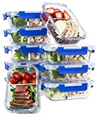 [10 SETS VALUE PACK] Two Compartment Glass Meal Prep Containers - Glass Food Storage Containers with Lids Meal Prep - LIFETIME Lids - Lunch Containers Portion Control Containers - BPA Free Containers