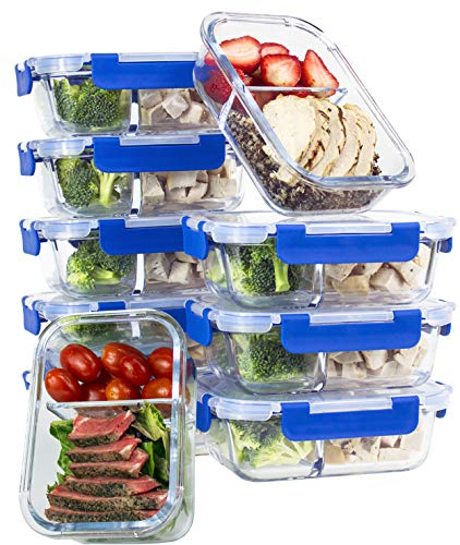 ([10 SETS VALUE PACK] Two Compartment Glass Meal Prep Containers - Glass Food Storage Containers with Lids Meal Prep - LIFETIME Lids - Lunch Containers Portion Control Containers - BPA Free Containers)