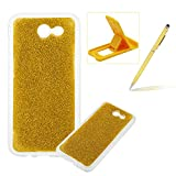 Soft Gel Case for Samsung Galaxy J330 2017,Ultra Slim Flexible Sparkle Rubber Cover for Samsung Galaxy J330 2017,Herzzer Luxury Stylish Yellow Bling Glitter TPU Bumper Silicone Protective Case for Samsung Galaxy J330 2017 + 1 x Free Yellow Cellphone Kickstand + 1 x Free Yellow Stylus Pen