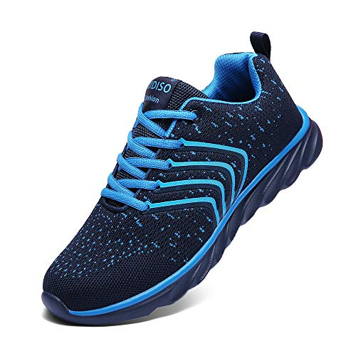 XIDISO Mens Sneakers Ultra Lightweight Breathable Mesh Street Sport Gym Running Walking Shoes Blue