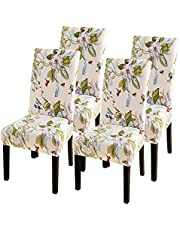 SearchI Spandex Dining Room Chair Covers Stretch Printed Chair Slipcover Sets of 4/6, Removable Washable Kitchen Chair Covers Protector for Dining Room, Hotel, Ceremony, Banquet