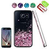 ATUMP Samsung Galaxy S6 Case Clear Flexible Bling Glitter Liquid Slim Fit TPU Silicone Shell Shockproof Anti Scratch Girls Phone Cover Cases + HD Screen protector for Samsung Galaxy S6 Rose Gold