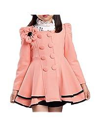 LNGRY Children's Fashion Warm Autumn Winter Girl Flower Coat Outerwear Clothes