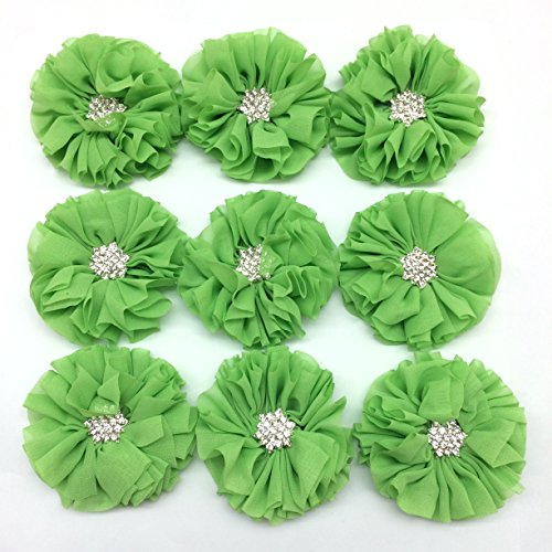 PEPPERLONELY 10PC Set Green Rhinestone Button Center Chiffon Fabric Flowers, 6.5cm(2-9/16 Inch)