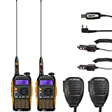 2 Pack Baofeng Pofung GT-3TP Mark-III Tri-Power 8/4/1W Two-Way Radio Transceiver, Dual Band 136-174/400-520 MHz True 8W High Power Two-Way Radio, with 23CM High Gain Antenna, Upgraded Chip + 2 Remote Speakers + 1 Programming Cable Included