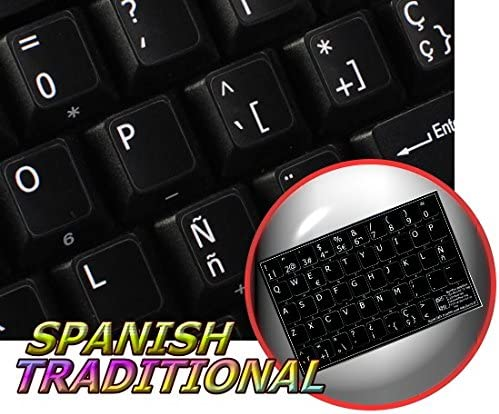 KEYBOARD STICKERS WITH YELLOW LETTERING TRANSPARENT BACKGROUND FOR DESKTOP TRADITIONAL LAPTOP AND NOTEBOOK SPANISH