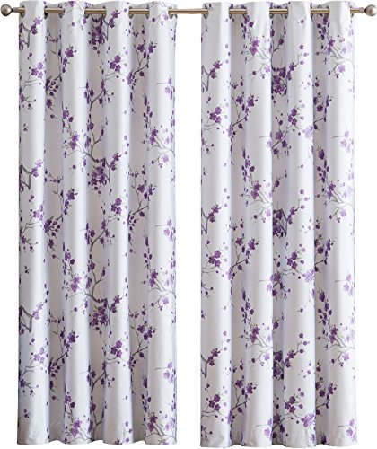 HLC.ME Jasmine Floral Faux Silk 100% Blackout Room Darkening Thermal Insulated Curtain Grommet Panels For Bedroom – Energy Efficient, Complete Darkness, Noise Reducing – Set of 2 (Purple, 52″W x 96″L)
