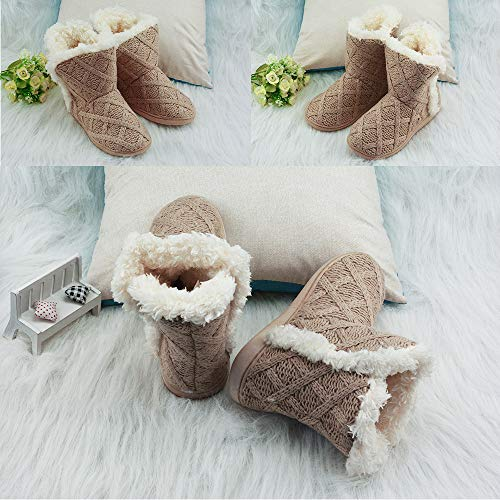 Slippers Outdoor Fuzzy Plush Beige Fur fba Indoor Booties Women's Lining pS6qcB