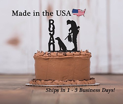 Duck Hunter, Dog Decor, Cake Topper, with FREE Keepsake Base, Hunter in Tree Stand, Outdoor Man, Deer Hunting, Personalized Topper, Male Birthday Party