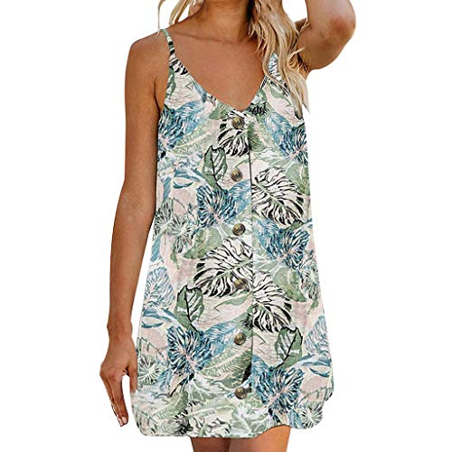ℱLOVESOOℱ Womens Summer Sling Beach Mini Dress Sleeveless V-Neck Button Floral Print Sundress Casual Holiday Dress Sky ()