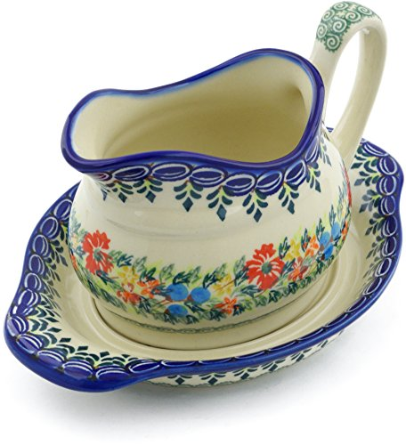Polish Pottery Gravy Boat with Saucer (Red Cornflower And Blue Butterflies Theme) Signature UNIKAT + Certificate of Authenticity