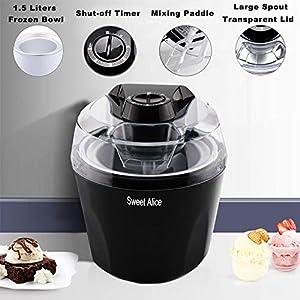 Ice Cream Maker, 1.5 Quart Automatic Frozen Yogurt, Sorbet, and Ice Cream Machine, Auto Shut-off Timer Function BPA-free…