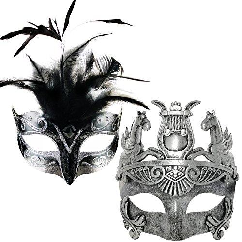 CCUFO Couple Masquerade Venetian Luxury Face Mask | Women Glitter Silver Feather & Men Greek Roman Gladiator | Party, Ballroom, Prom, Mardi Gras, Wedding, Wall Decoration (Silver Feather Couple Mask)