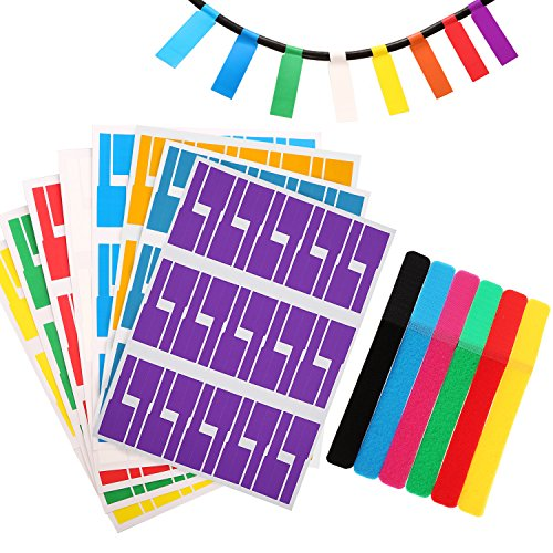 Totally Self-Adhesive Cable Labels Waterproof Wire Label Tear Resistant Marker and 12 Pieces Reusable Hook and Loop Cord Ties Straps, 8 Colors (240)