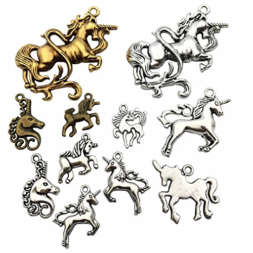 Gold Unicorn Charm - 100g Unicorn Charms Collection - Antique Silver Bronze Gold Colors Horse Metal Pendants for Jewelry Making DIY Findings (HM46)
