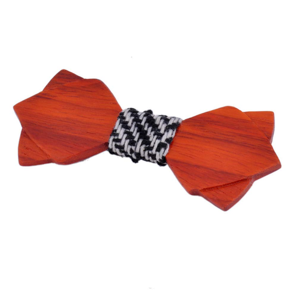 Bow tie Made of Natural woo WUSHIYU Wooden Bow tie Wooden Bow Tie Bow Wooden Handmade Bow Tie Mens Bow Tie Cufflinks Boutonniere Square Suit 100/% Handmade Bow tie Color : Red Brown