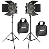 led dimmable light kit - Neewer 2 Pieces Bi-color 660 LED Video Light and Stand Kit Includes:(2)3200-5600K CRI 96+ Dimmable Light with U Bracket and Barndoor and (2)75 inches Light Stand for Studio Photography, Video Shooting