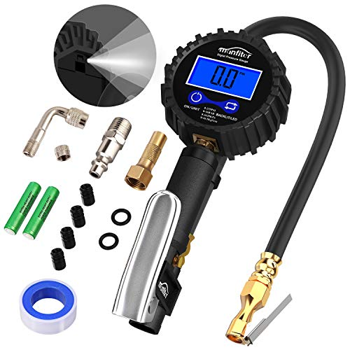 (Manfiter Tire Pressure Gauge Inflator Deflator Digital with 235 PSI Compressor Accessories Heavy Duty Brass Air Chuck Valve Set & Hose Quick Connect Coupler for 0.1 Accuracy, Backlit Lighting)