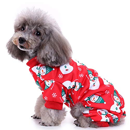 Hotumn Pet Christmas Snowman Costume Puppy Lovely Pajamas with Snowflake Cute Apparel for Small Dogs Cats (Snowman, L) -
