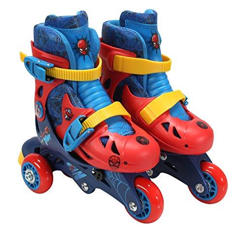 Junior Skate Roller - PlayWheels Spider-Man Convertible 2-in-1 Kids Roller Skates - Childrens Adjustable Skates - Junior Size 6-9