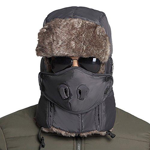 Leories Winter Trapper Trooper Hat Windproof Warm Camouflage Mask Ear Flaps Outdoor Sports Walking Skiing Hunting Hat Dark Grey