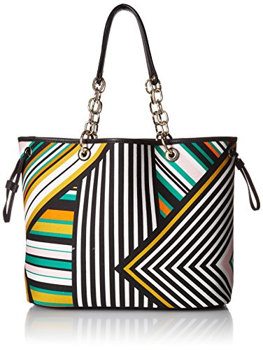 West Large Tote - Nine West Ziah Large Tote, White Multi/Black