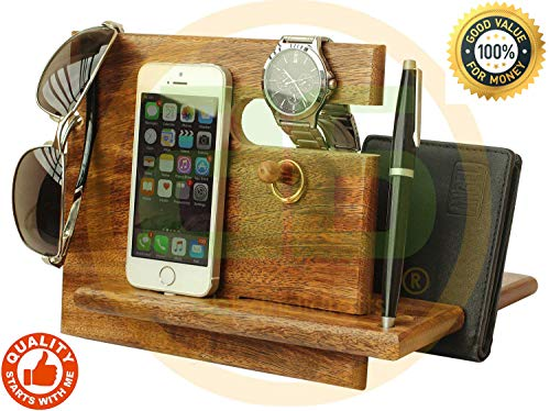 Deal of The Day - Universal Wooden Docking Station, Smartphones Docking Station for Men, Women, Dad, Wife, Husband, Anniversary Presents for Him/Her (Brown)