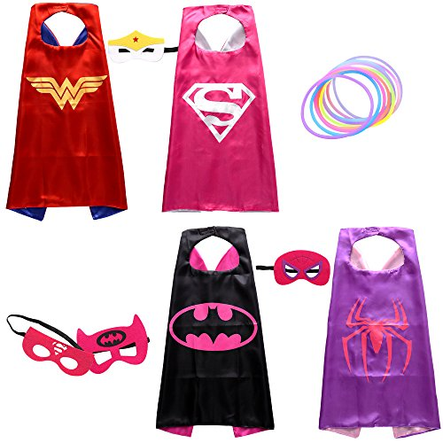 Girls Superhero Dress Up Costumes with Glow Bracelet