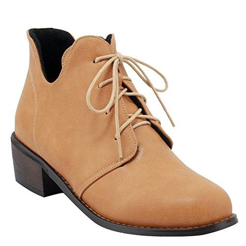 Mee Shoes Damen chunky heels runde kurzschaft ankle Boots Gelb