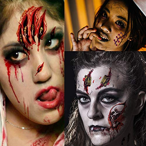 Halloween Tattoos, Scar Tattoos, Waterproof Body Face Wound Zombie Scar Wound Tattoos, Fake Blood Horror Injury Tattoo Stickers for Halloween Costume Party, Vampire Zombies Cosplay (6 Pack)