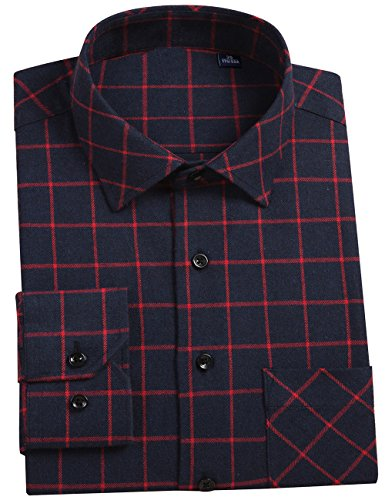 - DOKKIA Men's Dress Slim Fit Buffalo Plaid Checkered Long Sleeve Flannel Shirts (Navy Blue Red, Small)