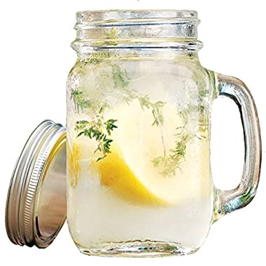 Set of 4 12-oz Clear Glass Mason Jar Beverage Cups with Handles - 4 Clear Glass Drink Cups with Metal Lids