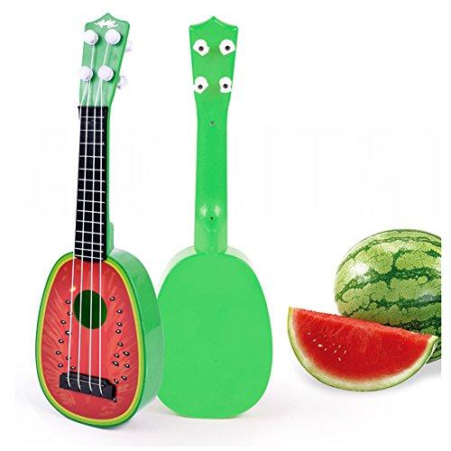(Faironly Mini Creative Simulation Guitar/Bass/Ukulele Children Intelligence Development Fruit Shape Music Instrument with Real Strings Watermelon)