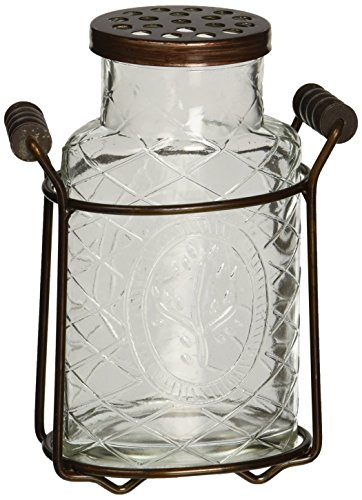 Creative Co-Op Glass Vase with Metal Flower Lid, Small