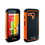 8gtech Orange Heavy Duty Hybrid Hard Silicone Case Cover For Motorola Moto G Case
