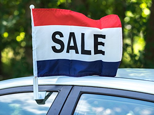 12 Car Window Flags by Mission Flags SALE Clip On Perfect for Car Auto Sales - Sold by the dozen - Quantity Discounts