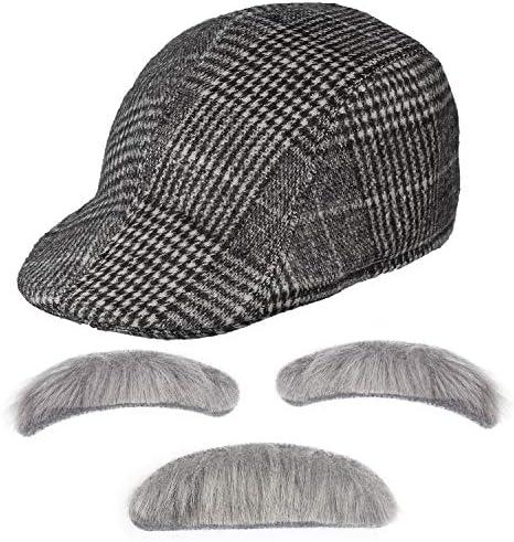 Haichen Old Man Accessori Costume Berretto da cecchino Cappello da edera Costume Occhiali Occhiali da Pipa Baffi e Sopracciglia Set Accessori per Il Nonno Grigio Chiaro