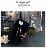 5c cases with gems - LU2000 Phone Case Compatible for Apple iPhone 5c with Double [Pendant Series] Tassels Fur Fluff Phone Cover Bling Gems Trimming - Black